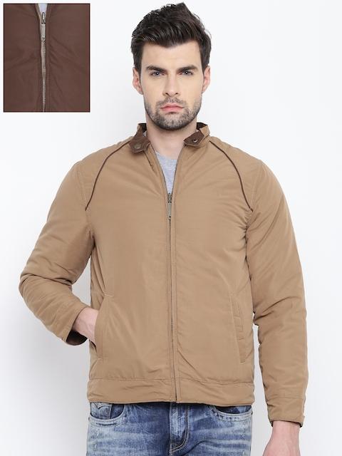 Allen Solly Men Beige & Brown Solid Reversible Jacket
