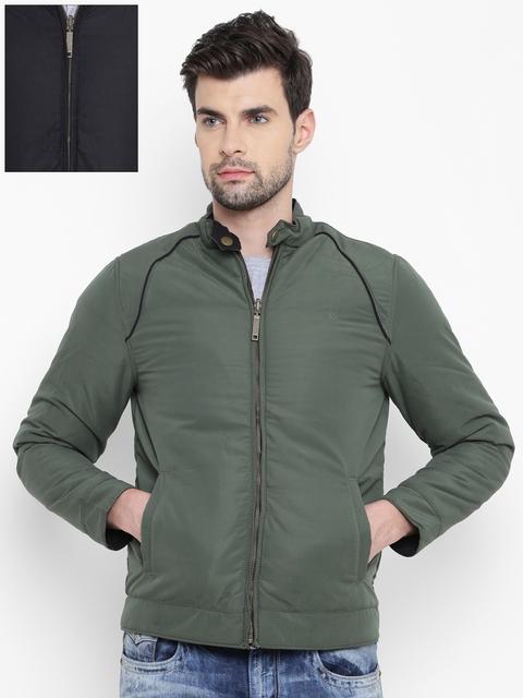 Allen Solly Men Olive Green & Black Reversible Padded Jacket