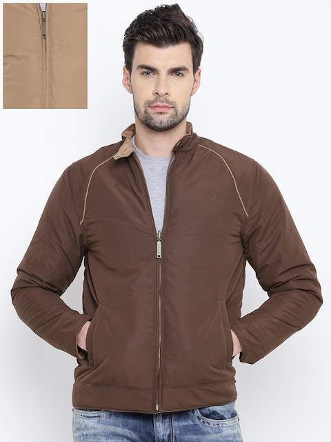Allen Solly Men Brown & Beige Solid Reversible Padded Jacket