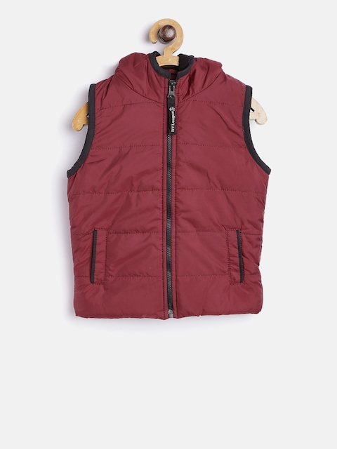 612 Ivy League Boys Maroon Solid Puffer Hooded Jacket