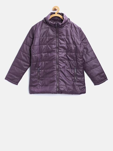 612 Ivy League Girls Purple Solid Padded Jacket