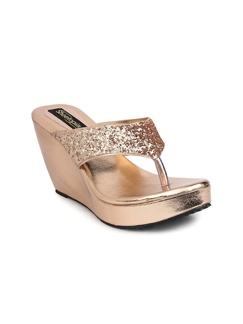 Shoetopia Women Copper-Toned Embellished Wedges
