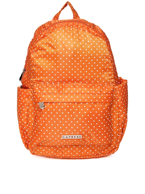 Caprese Women Orange Polka Dot Print Backpack
