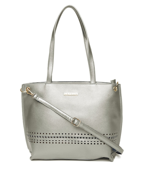 Caprese Silver-Toned Solid Shoulder Bag with Sling Strap  available at myntra for Rs.1349