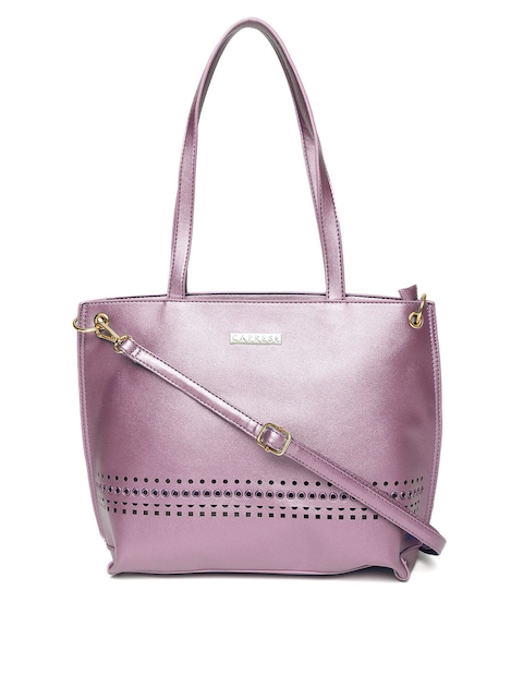 Caprese Purple Solid Shoulder Bag with Detachable Sling Strap