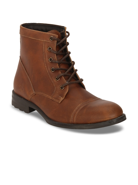 Bond Street By Red Tape Men Tan Brown Solid Synthetic Mid-Top Flat Boots