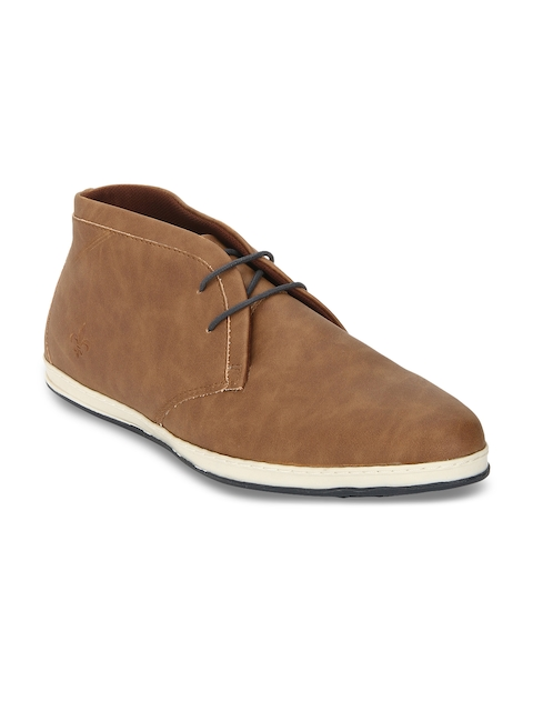 Bond Street By Red Tape Men Tan Solid Synthetic Mid-Top Flat Boots