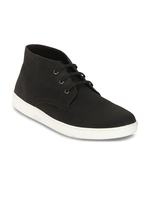 Bond Street By Red Tape Men Black Solid Synthetic Mid-Top Flat Boots