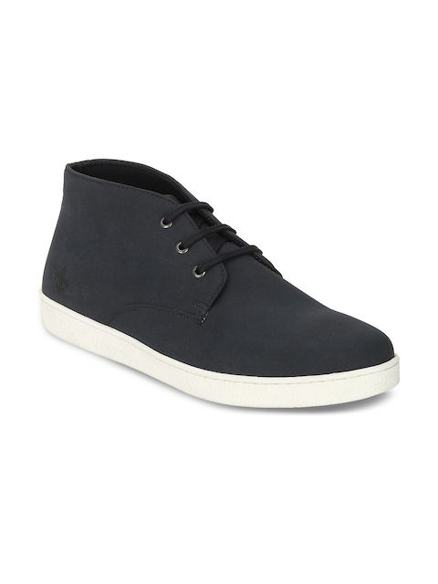 Bond Street By Red Tape Men Blue Solid Synthetic Mid-Top Flat Boots