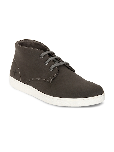 Bond Street By Red Tape Men Grey Solid Synthetic Mid-Top Flat Boots
