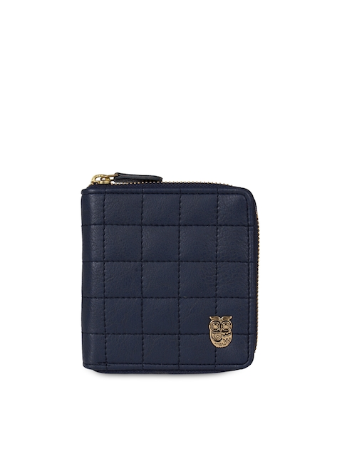 Chumbak Women Navy Blue Quilted Two Fold Wallet