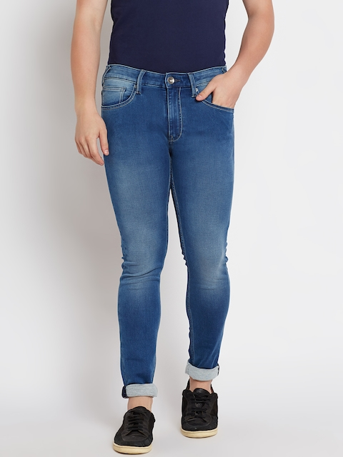 Pepe Jeans Men Blue Regular Fit Mid-Rise Clean Look Stretchable Jeans