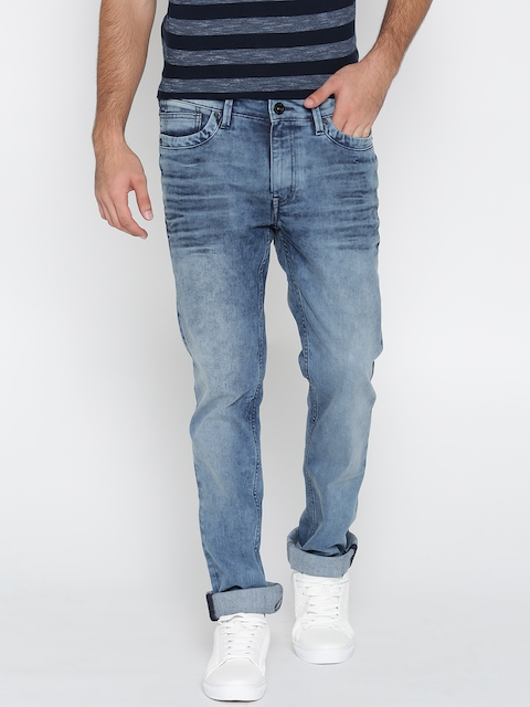 Pepe Jeans Men Blue Vapour Slim Fit Low-Rise Clean Look Stretchable Jeans