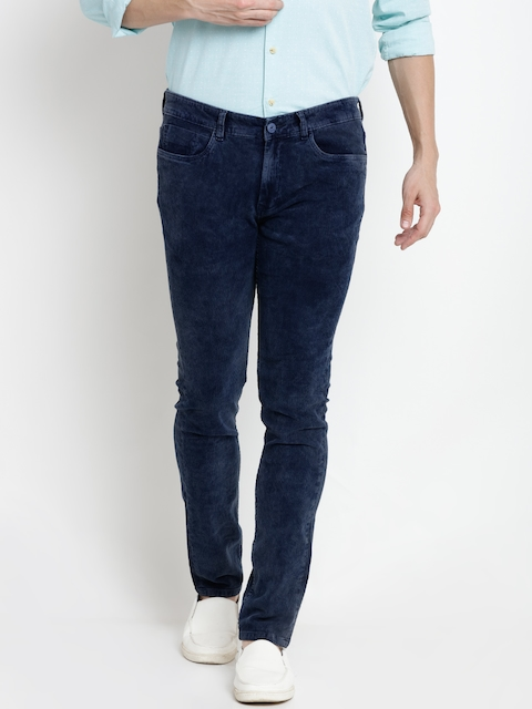 Pepe Jeans Men Navy Solid Corduroy Trousers