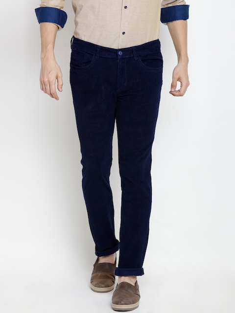 Pepe Jeans Men Blue Solid Corduroy Trousers