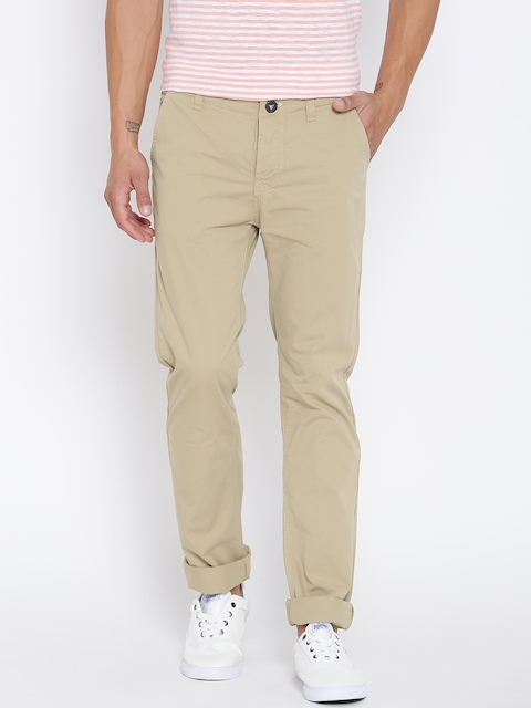 Pepe Jeans Men Beige Solid Trousers