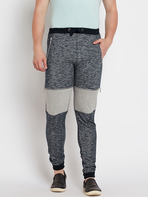 Pepe Jeans Navy & Grey Melange Patterned Track Pants