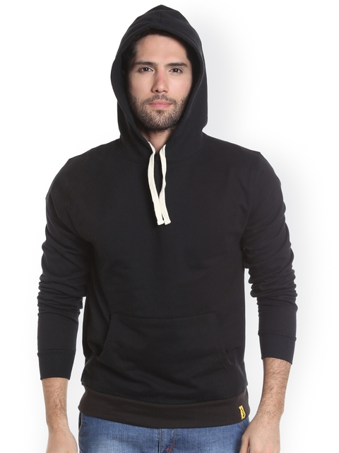 Campus Sutra Men Black Solid Hooded Sweatshirt