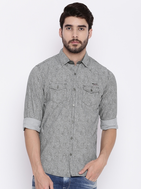 Mufti Men Black & White Regular Fit Striped Casual Shirt  available at myntra for Rs.1019