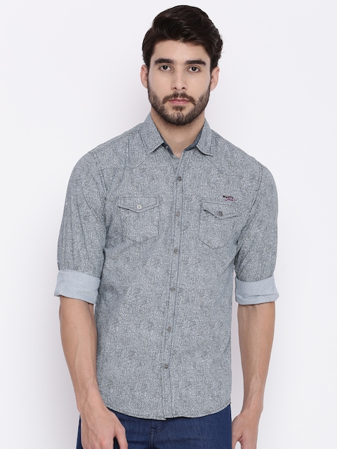 Mufti Men Blue & Off-White Regular Fit Striped Casual Shirt  available at myntra for Rs.849
