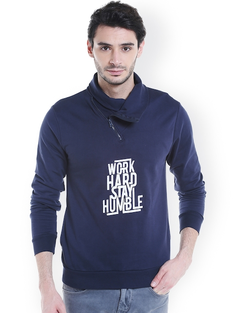 Campus Sutra Men Blue Printed Sweatshirt