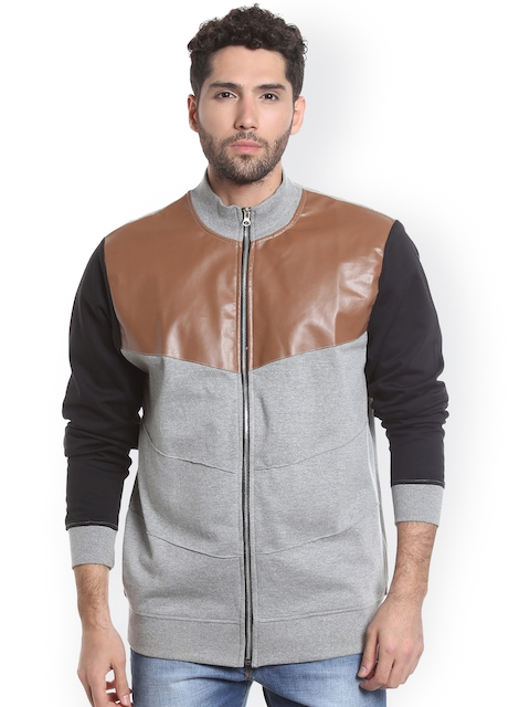 Campus Sutra Men Grey & Brown Colourblocked Quilted Jacket