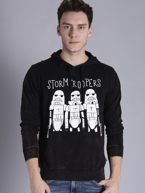 Kook N Keech Star Wars Men Black Printed Hooded Sweatshirt
