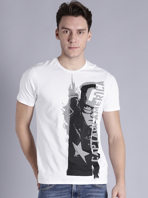 Kook N Keech Marvel Men White Printed Round Neck T-shirt  available at myntra for Rs.239