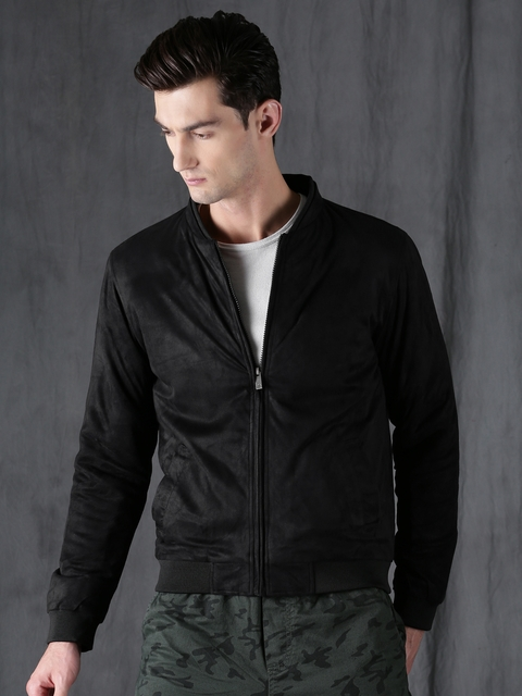 WROGN Men Black Solid Slim-Fit Bomber Jacket