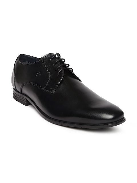 Louis Philippe Men Black Square-Toed Leather Derby Shoes