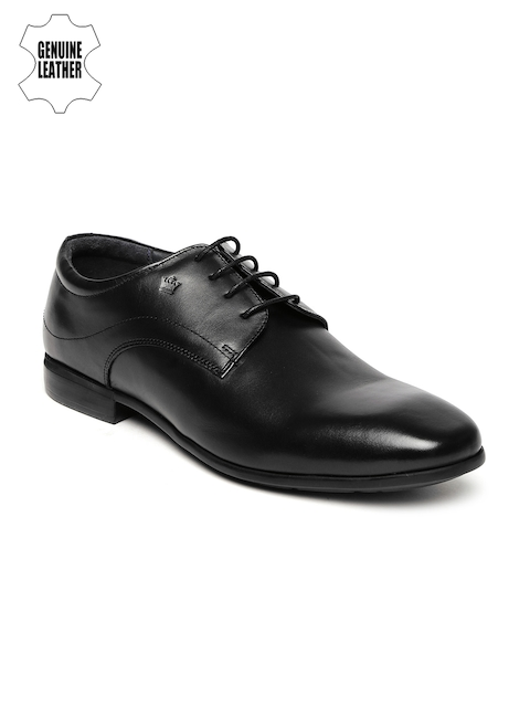 Louis Philippe Men Black Genuine Leather Derby Shoes