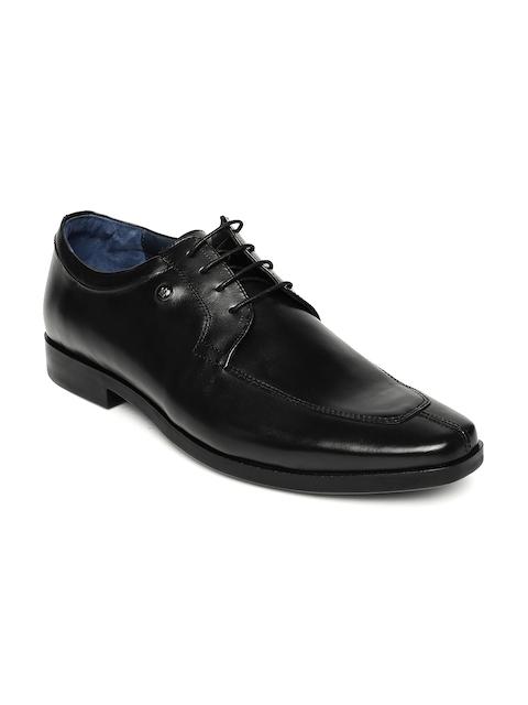 Louis Philippe Men Black Leather Derby Shoes