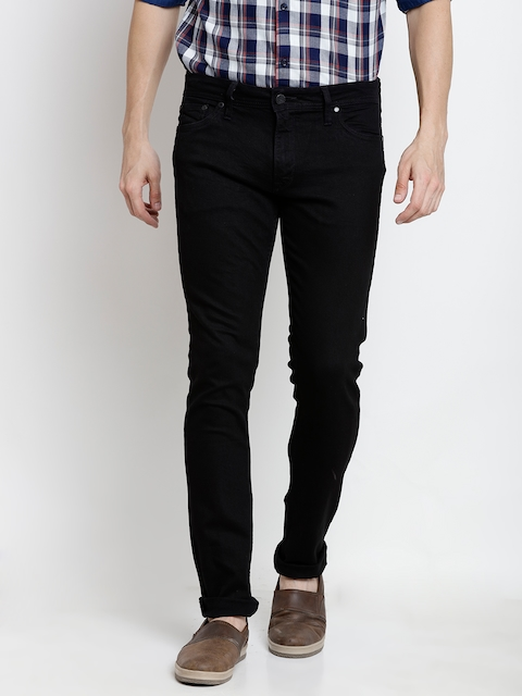 Jack & Jones Men Black Slim Fit Mid-Rise Clean Look Stretchable Jeans