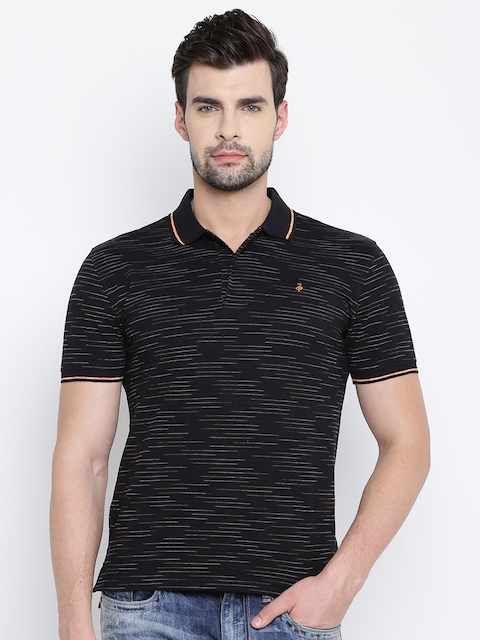 John Players Men Black Striped Polo Collar T-shirt
