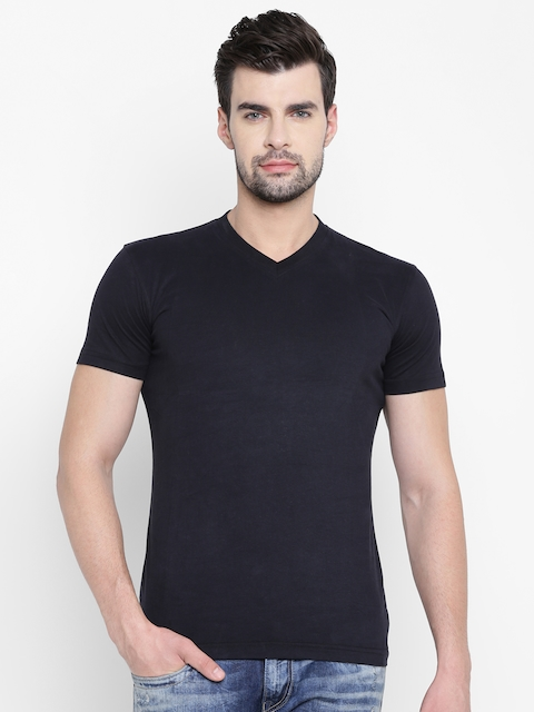 John Players Men Black Solid V-Neck T-shirt