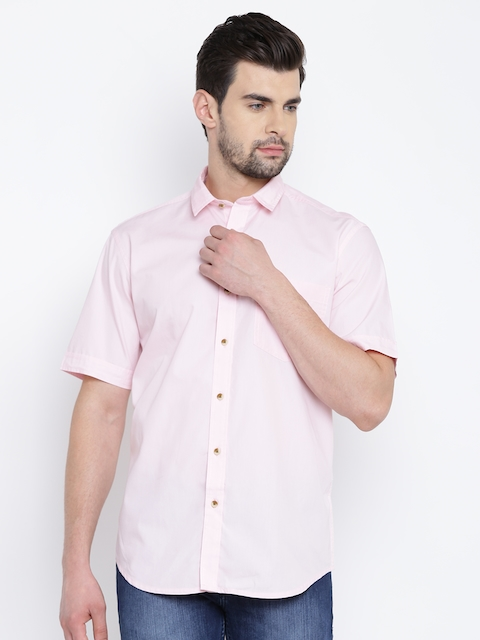 John Players Men Pink Solid Casual Shirt