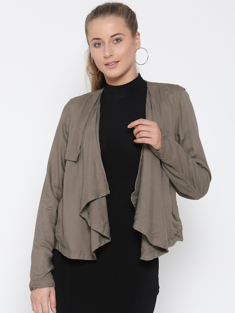 FOREVER 21 Women Taupe Solid Open Front Jacket