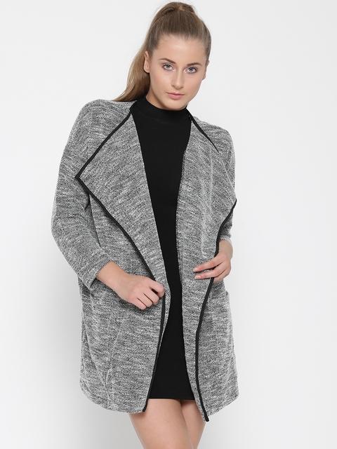 FOREVER 21 Women Black & White Self-Design Open Front Jacket