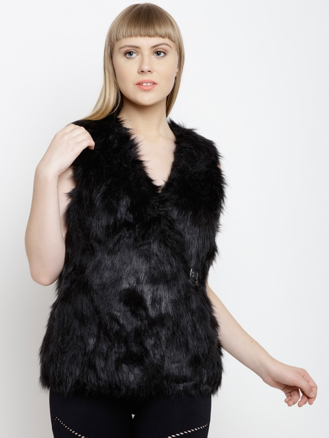 FOREVER 21 Women Black Solid Faux Fur Tailored Sleeveless Jacket