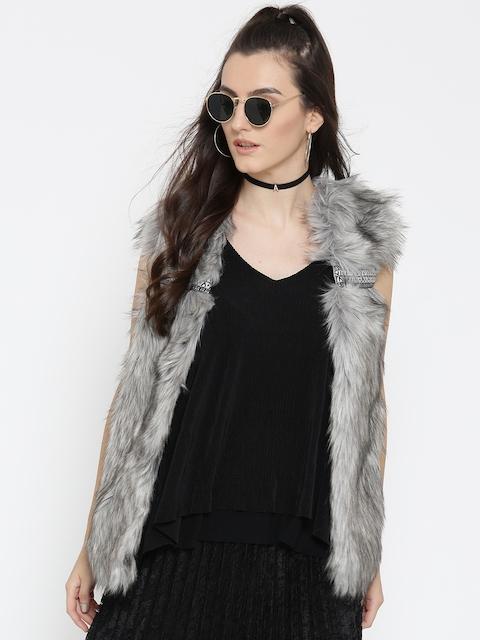 FOREVER 21 Women Grey Faux Fur Open Front Jacket