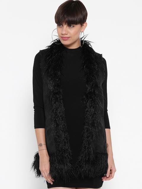 FOREVER 21 Women Black Faux Fur Trim Solid Longline Jacket