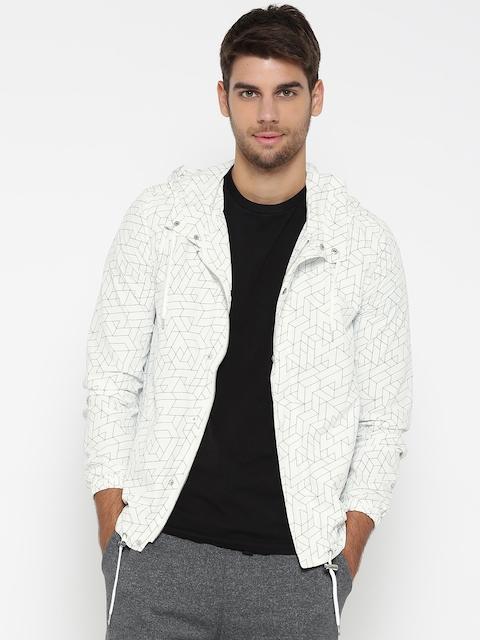 FOREVER 21 Men White Printed Hooded Tailored Jacket