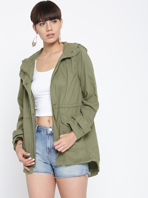 FOREVER 21 Women Olive Green Solid Tailored Jacket
