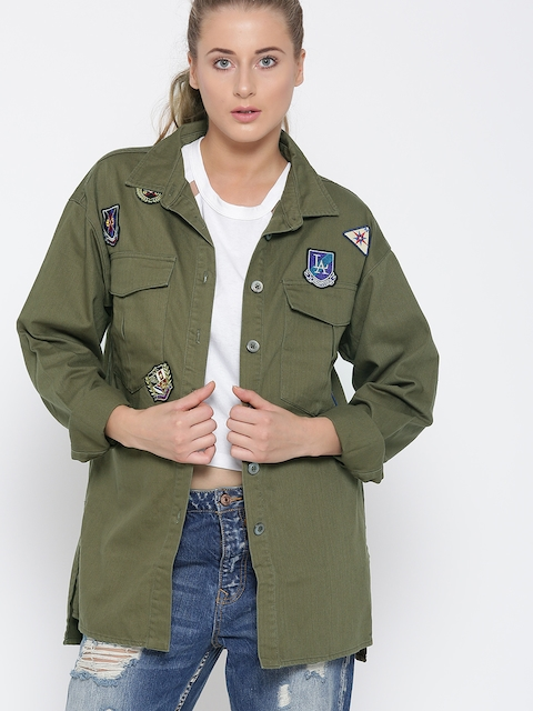 FOREVER 21 Women Olive Green Solid Denim Jacket