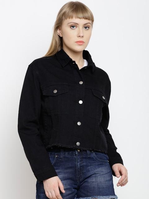 FOREVER 21 Women Black Solid Denim Jacket