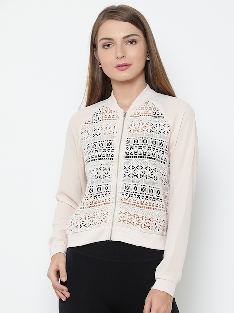 FOREVER 21 Women Peach-Coloured Lace Bomber Jacket