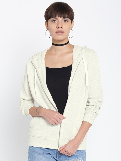 FOREVER 21 Women Cream-Coloured Solid Hooded Sweatshirt