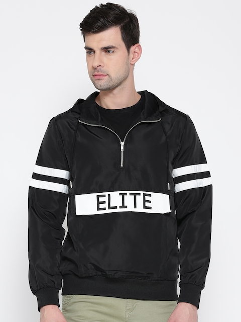 FOREVER 21 Men Black Printed Hooded Sporty Jacket