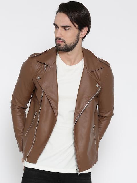 FOREVER 21 Men Brown Solid Biker Jacket