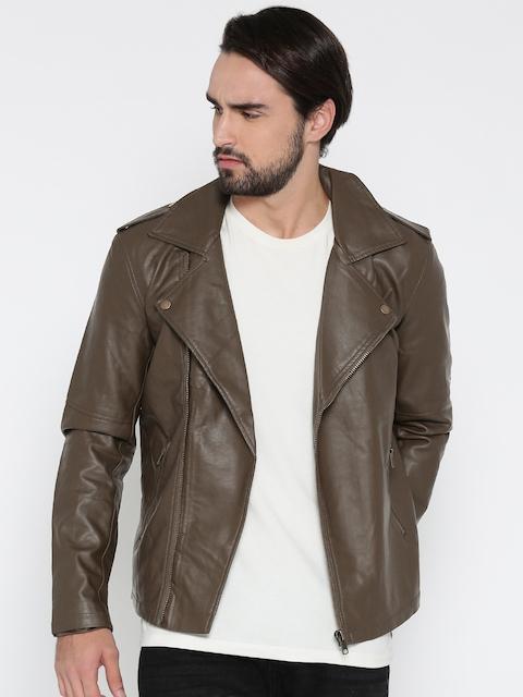 FOREVER 21 Men Olive Green Solid Biker Jacket